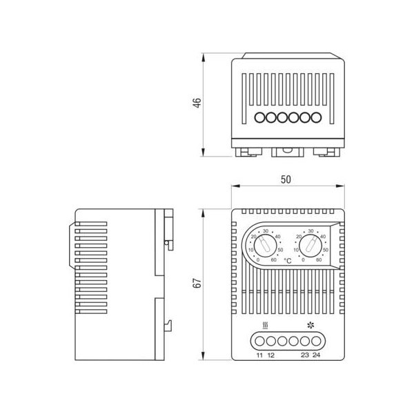 Doble termostato para frio y calor rack 19 comprar venta for Termostato analogico calefaccion