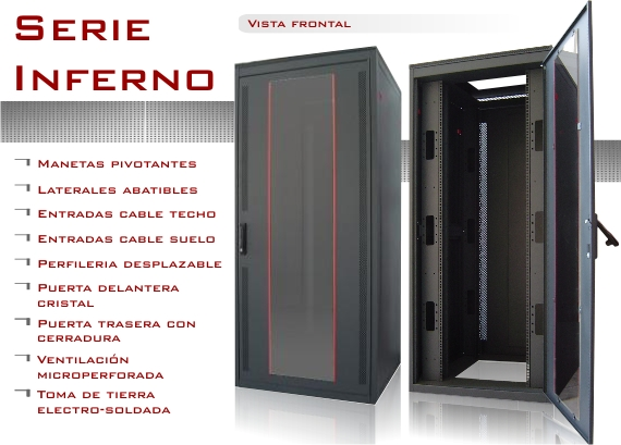 Disponibles armarios rack 32U 800 x 600 Inferno
