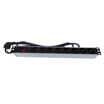 """Regleta rack 19"""" 16A 8x tomas schuko con interruptor"""