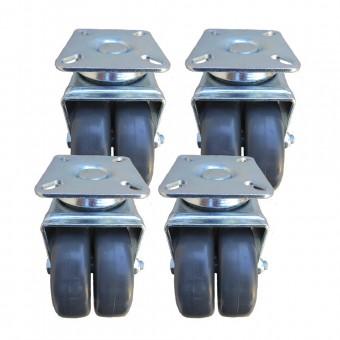 Ruedas para rack Kit 4 unds alta carga con freno