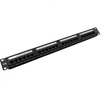 Patch panel rack  1U  24 x RJ45 Cat6 UTP