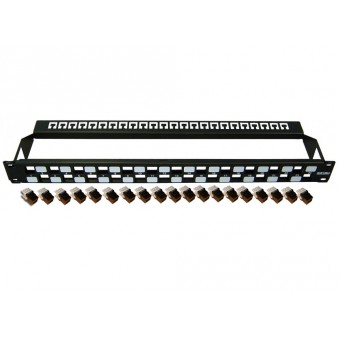 Patch panel rack  1U  con retenedor  24 x RJ45 Cat6 modular