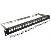 Patch panel rack  1U  24 x RJ45 Cat6A FTP modular