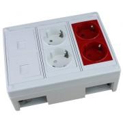 Caja de superficie  2 X Rj45 Keystone con 2 x Schuko blanco y 2 x Schuko rojo