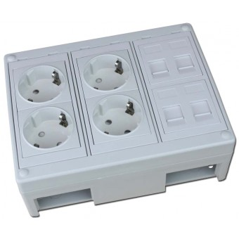 Caja de superficie  4 X Rj45 Keystone con 4 x Schuko blancos