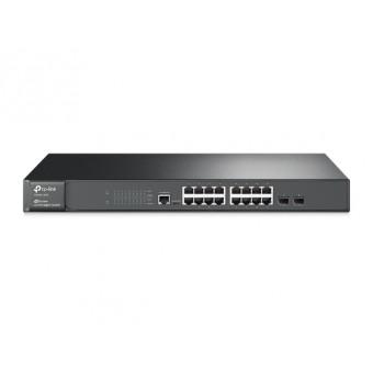 Switch Gestionable TP-Link 16 puertos Gigabit L2 JetStream y 2 Ranuras SFP Rack 19
