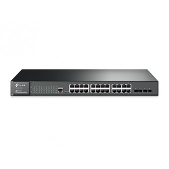 Switch Gestionable TP-Link 24 puertos Gigabit L2 JetStream y 4 Ranuras SFP Rack 19