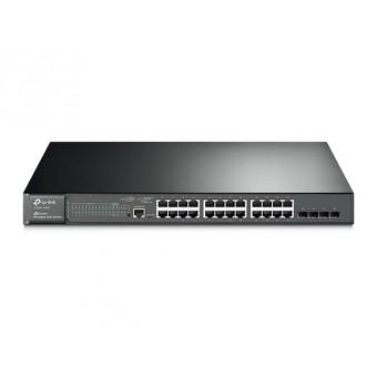 Switch Gestionable TP-Link 24 puertos Gigabit L2 JetStream PoE+ y 4 Ranuras SFP Rack 19