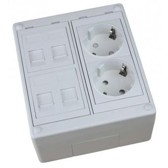 Caja de superficie  4 X Rj45 Keystone con 2 x Schuko blancos