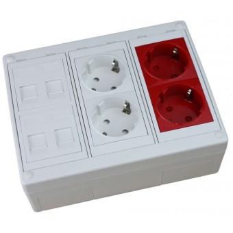 Caja de superficie  4 X Rj45 Keystone con 2 x Schuko blanco y 2 x Schuko rojo