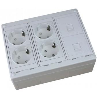 Caja de superficie  2 X Rj45 Keystone con 4 x Schuko blancos