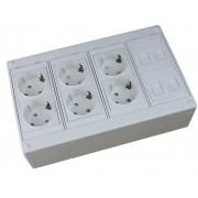 Caja de superficie 4 X Rj45 Keystone con 6 x Schuko blancos