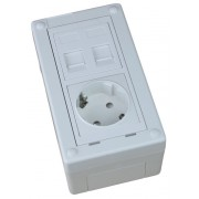 Caja de superficie  2 X Rj45 Keystone con 1 x Schuko blanco