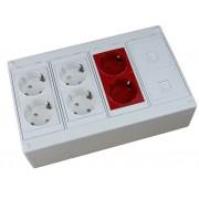 Caja de superficie 2 X Rj45 Keystone con 4 x Schuko blancos y 2 X Shuko rojos