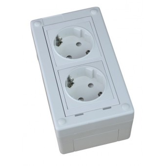 Caja de superficie 2 x Schuko blanco