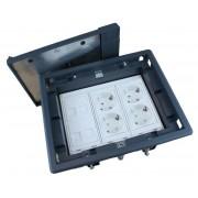 Caja para suelo  4 X Rj45 Keystone con 2 x Schuko blanco y 2 x Schuko rojo